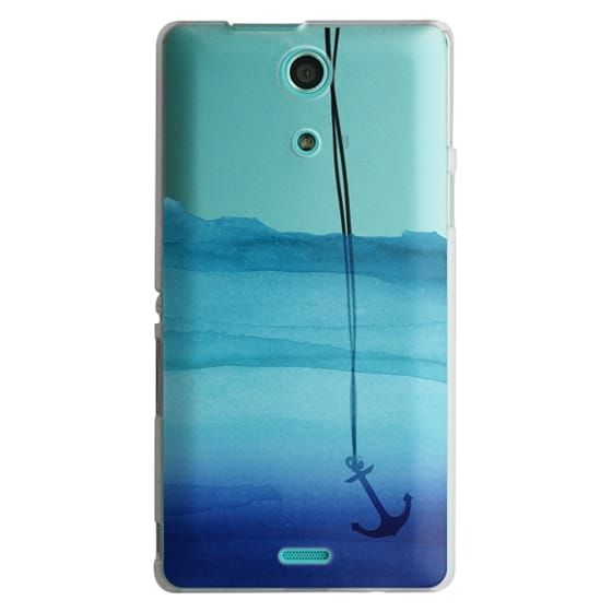 Sony Zr Cases - Watercolor Ocean Blue Gradient Nautical Anchor on Transparent Background