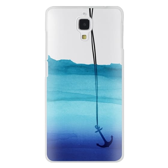 Xiaomi 4 Cases - Watercolor Ocean Blue Gradient Nautical Anchor on Transparent Background