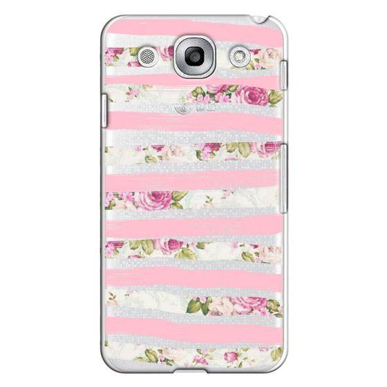 Elegant Pretty Pink Vintage Floral Print and Solid Pink Brushed Stripes