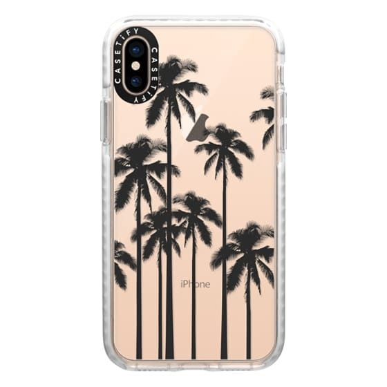 iPhone XS Cases - Black Summer Palm Trees on Transparent Background