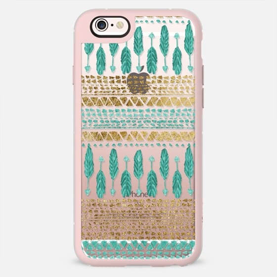 Bohemian Teal Feather Arrows and Faux Gold Tribal Aztec Pattern- Transparent -