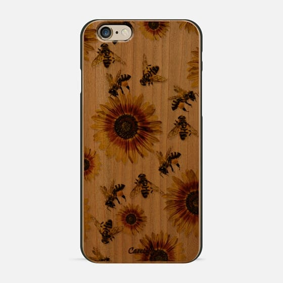 Summer Bright Yellow Sunflower Flowers and Honey Bees Pattern- Transparent -