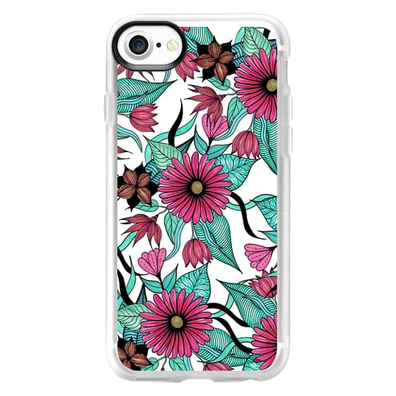 Girly Pink Teal and Black Floral Illustrations Full Print