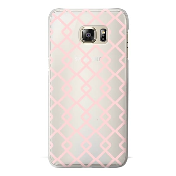 Samsung Galaxy S6 Edge Plus Cases - Baby Pink Criss Cross Geometric Squares Pattern on Transparent Background