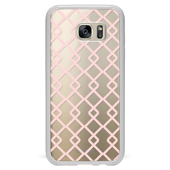 Samsung Galaxy S7 Edge Cases - Baby Pink Criss Cross Geometric Squares Pattern on Transparent Background