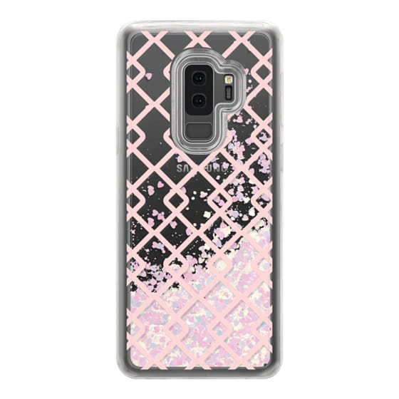 Samsung Galaxy S9 Plus Cases - Baby Pink Criss Cross Geometric Squares Pattern on Transparent Background