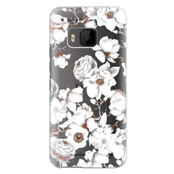 Htc One M9 Cases - Trendy Elegant Watercolor White Floral Chic Pattern