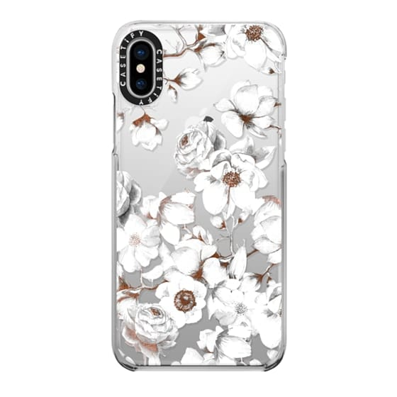 iPhone X Cases - Trendy Elegant Watercolor White Floral Chic Pattern