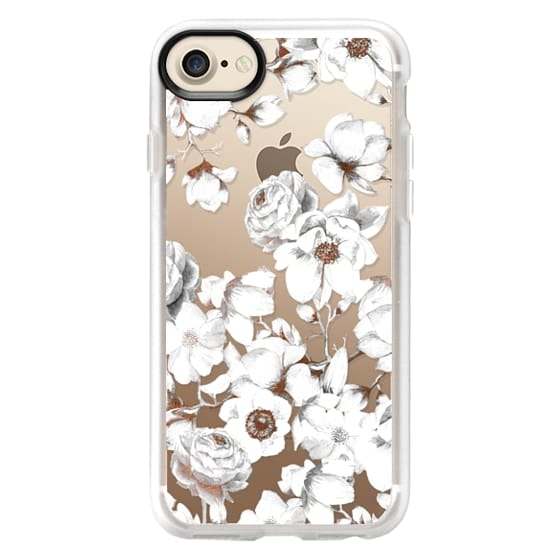 iPhone 7 Cases - Trendy Elegant Watercolor White Floral Chic Pattern
