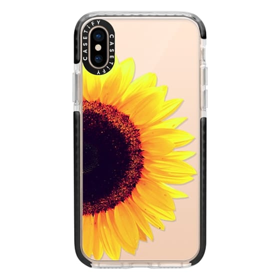 iPhone XS Cases - Bright Yellow Summer Sunflower Flowers on Transparent Background