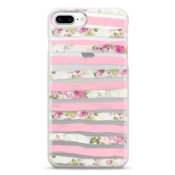 iPhone 7 Plus Cases - Elegant Pretty Pink Vintage Floral Print and Solid Pink Brushed Stripes