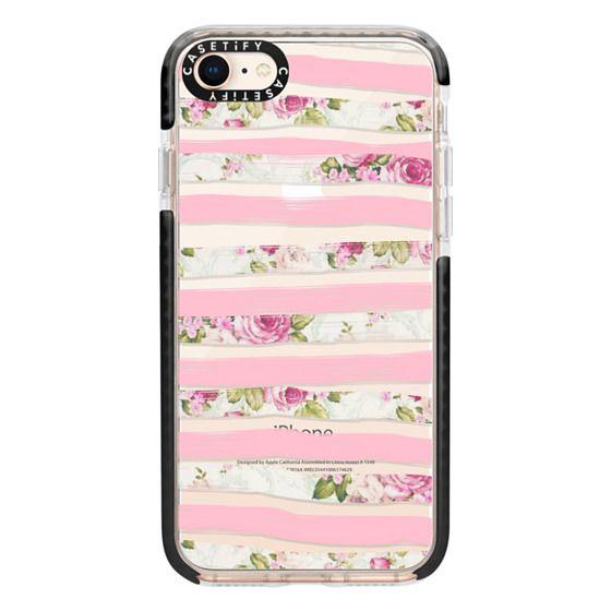 iPhone 8 Cases - Elegant Pretty Pink Vintage Floral Print and Solid Pink Brushed Stripes