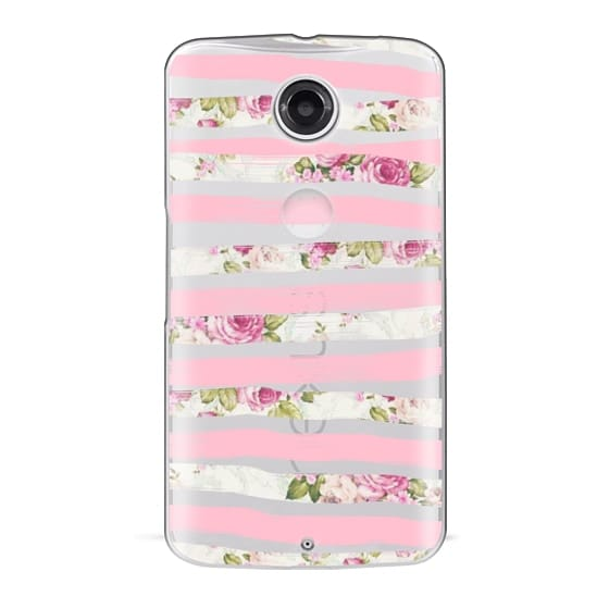 Nexus 6 Cases - Elegant Pretty Pink Vintage Floral Print and Solid Pink Brushed Stripes