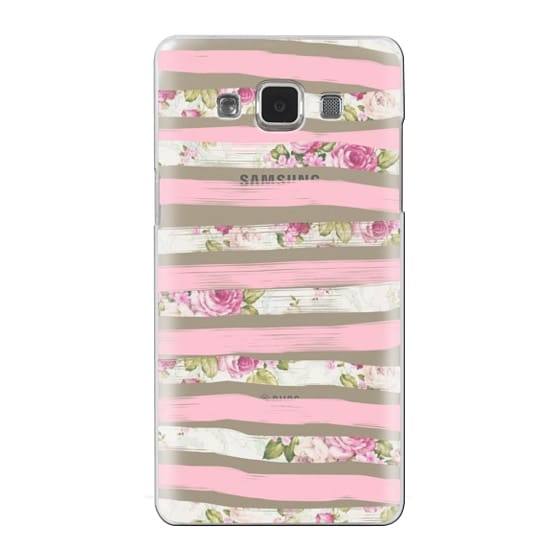 Samsung Galaxy A5 Cases - Elegant Pretty Pink Vintage Floral Print and Solid Pink Brushed Stripes