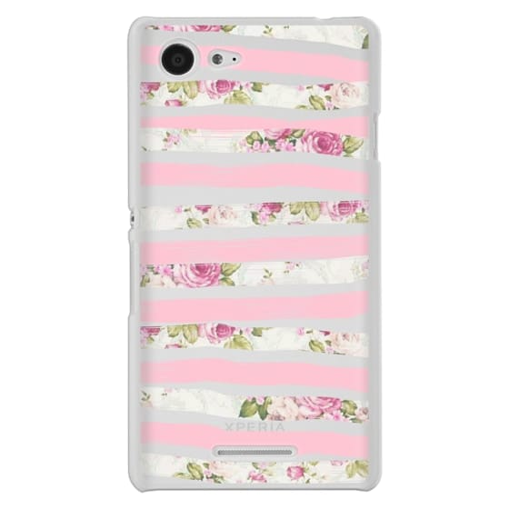 Sony E3 Cases - Elegant Pretty Pink Vintage Floral Print and Solid Pink Brushed Stripes