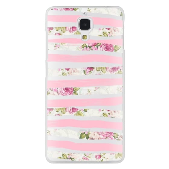 Xiaomi 4 Cases - Elegant Pretty Pink Vintage Floral Print and Solid Pink Brushed Stripes