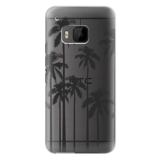 Htc One M9 Cases - Black Summer Palm Trees on Transparent Background