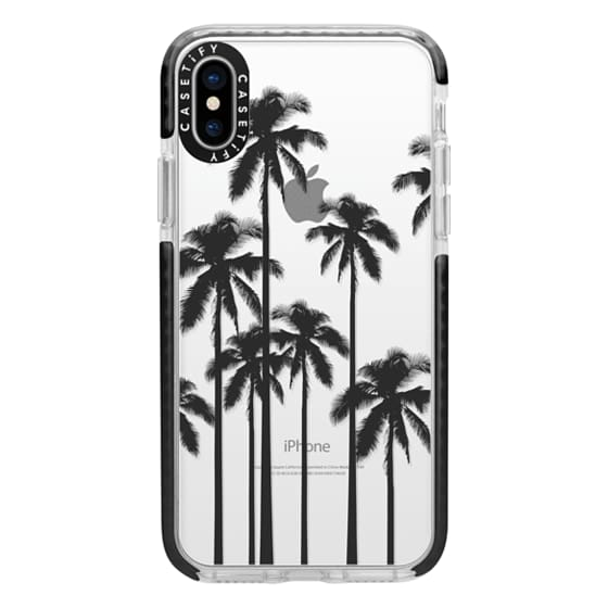 iPhone X Cases - Black Summer Palm Trees on Transparent Background