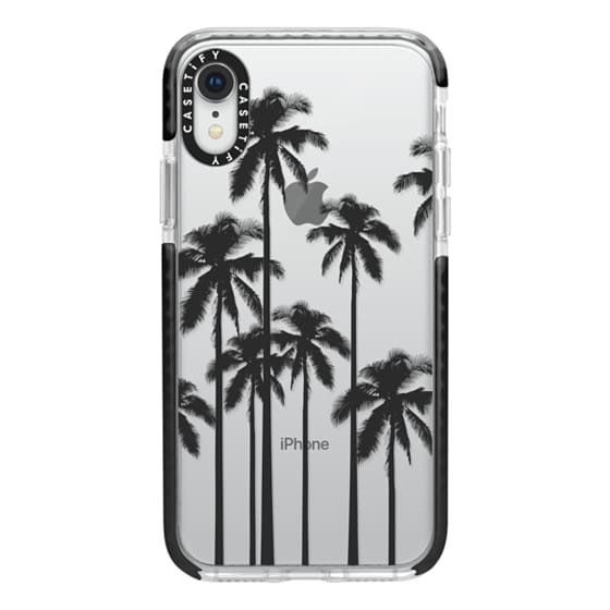 iPhone XR Cases - Black Summer Palm Trees on Transparent Background