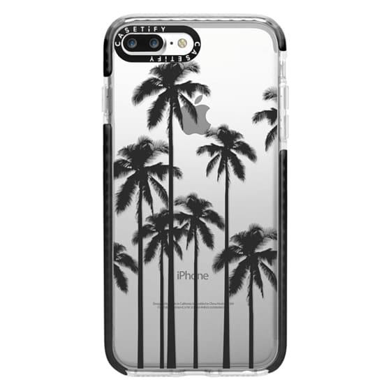 iPhone 7 Plus Cases - Black Summer Palm Trees on Transparent Background