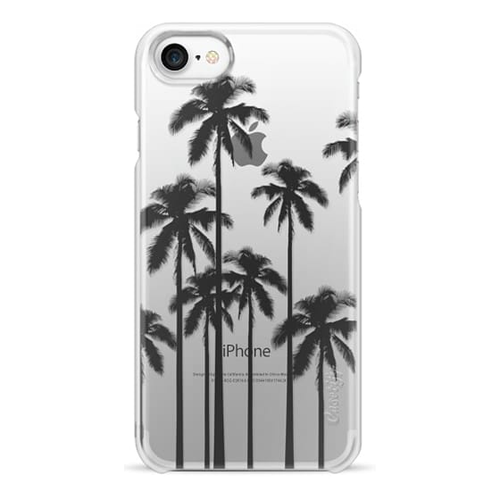 iPhone 7 Cases - Black Summer Palm Trees on Transparent Background