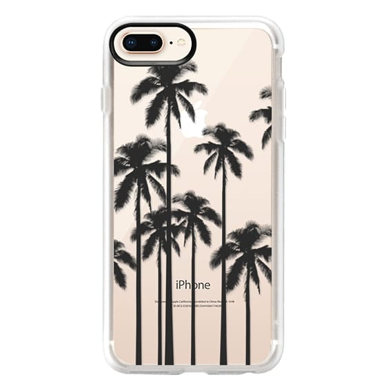 iPhone 8 Plus Cases - Black Summer Palm Trees on Transparent Background