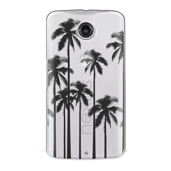 Nexus 6 Cases - Black Summer Palm Trees on Transparent Background