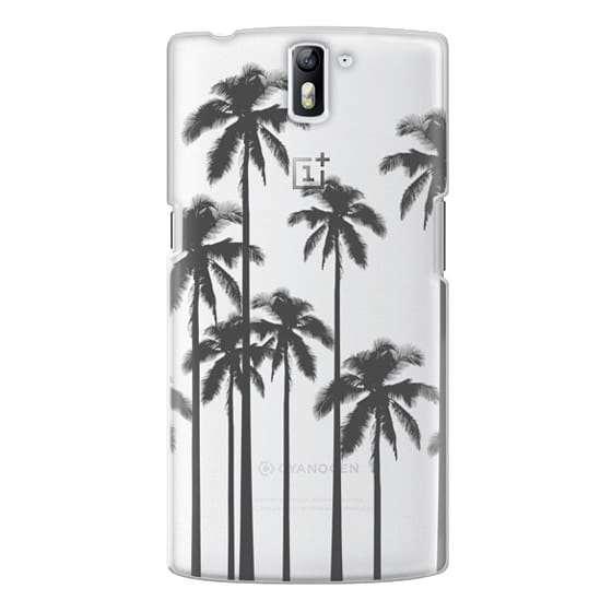 One Plus One Cases - Black Summer Palm Trees on Transparent Background