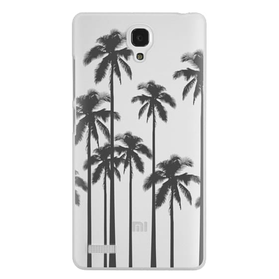 Redmi Note Cases - Black Summer Palm Trees on Transparent Background
