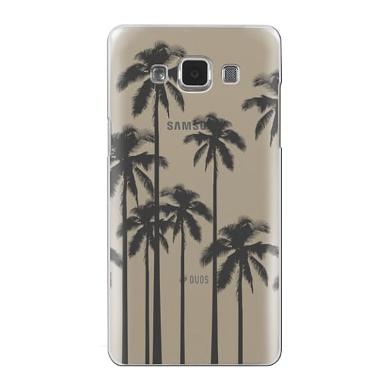 Samsung Galaxy A5 Cases - Black Summer Palm Trees on Transparent Background