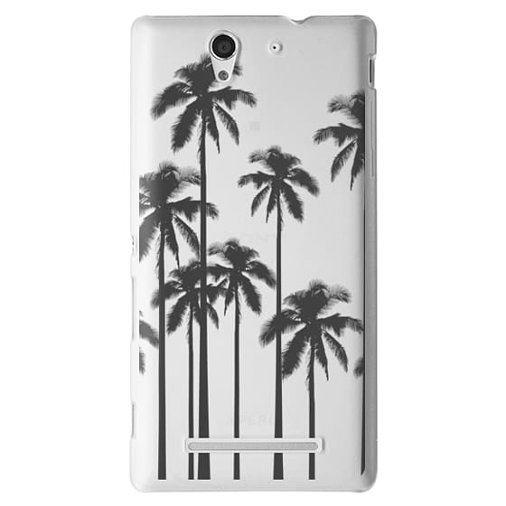 Sony C3 Cases - Black Summer Palm Trees on Transparent Background