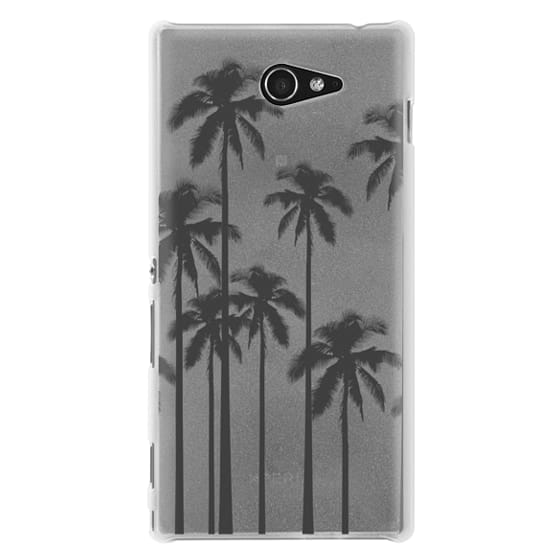 Sony M2 Cases - Black Summer Palm Trees on Transparent Background