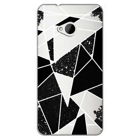 Htc One Cases - Black and White Rustic Painted Abstract Linear Geometric Triangles Pattern on Transparent Background