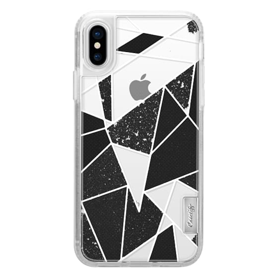 iPhone X Cases - Black and White Rustic Painted Abstract Linear Geometric Triangles Pattern on Transparent Background