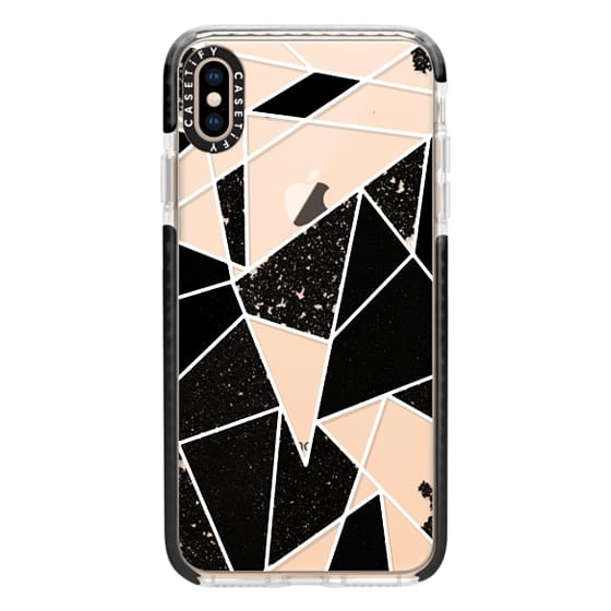 iPhone XS Max Cases - Black and White Rustic Painted Abstract Linear Geometric Triangles Pattern on Transparent Background