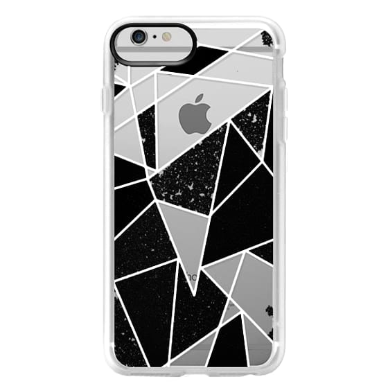 iPhone 6 Plus Cases - Black and White Rustic Painted Abstract Linear Geometric Triangles Pattern on Transparent Background