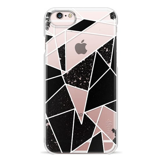 iPhone 6s Cases - Black and White Rustic Painted Abstract Linear Geometric Triangles Pattern on Transparent Background