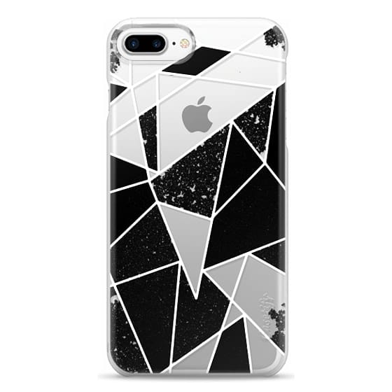 iPhone 7 Plus Cases - Black and White Rustic Painted Abstract Linear Geometric Triangles Pattern on Transparent Background
