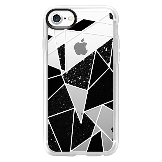 iPhone 7 Cases - Black and White Rustic Painted Abstract Linear Geometric Triangles Pattern on Transparent Background