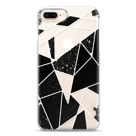 iPhone 8 Plus Cases - Black and White Rustic Painted Abstract Linear Geometric Triangles Pattern on Transparent Background