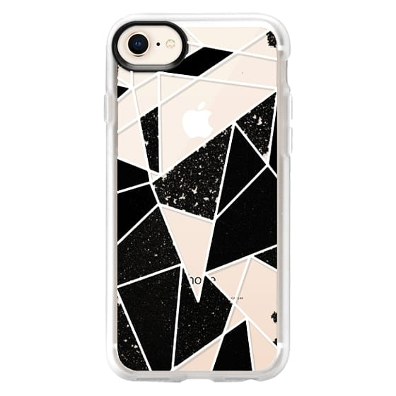 iPhone 8 Cases - Black and White Rustic Painted Abstract Linear Geometric Triangles Pattern on Transparent Background