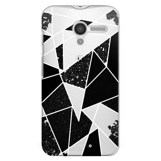 Moto X Cases - Black and White Rustic Painted Abstract Linear Geometric Triangles Pattern on Transparent Background