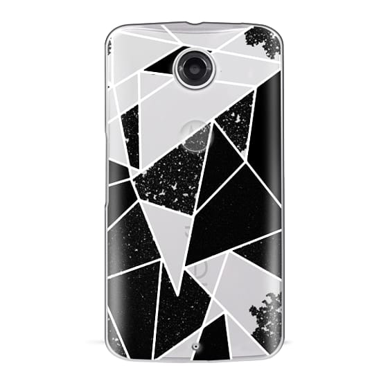 Nexus 6 Cases - Black and White Rustic Painted Abstract Linear Geometric Triangles Pattern on Transparent Background