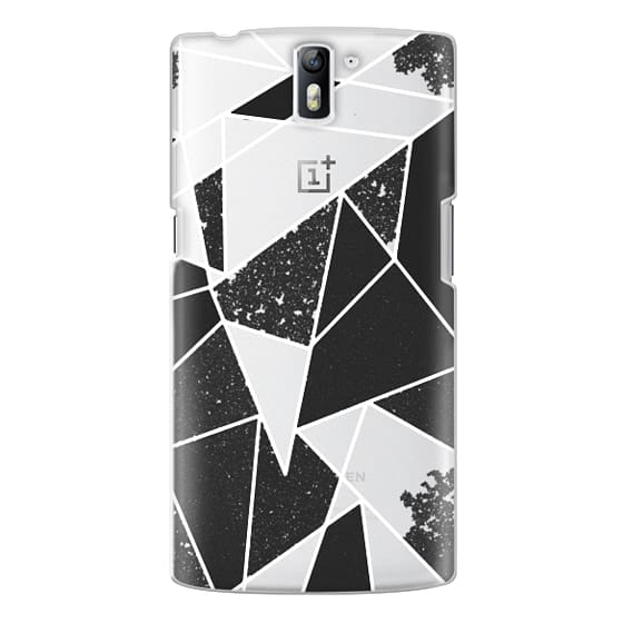 One Plus One Cases - Black and White Rustic Painted Abstract Linear Geometric Triangles Pattern on Transparent Background