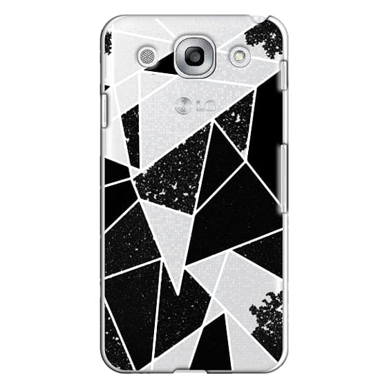 Optimus G Pro Cases - Black and White Rustic Painted Abstract Linear Geometric Triangles Pattern on Transparent Background