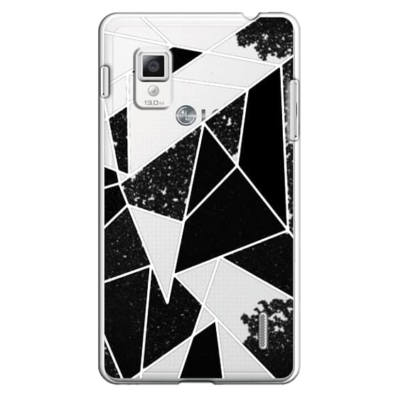 Optimus G Cases - Black and White Rustic Painted Abstract Linear Geometric Triangles Pattern on Transparent Background