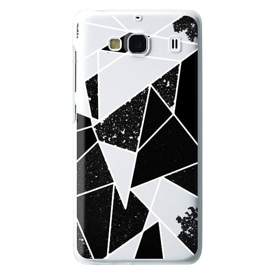 Redmi 2 Cases - Black and White Rustic Painted Abstract Linear Geometric Triangles Pattern on Transparent Background