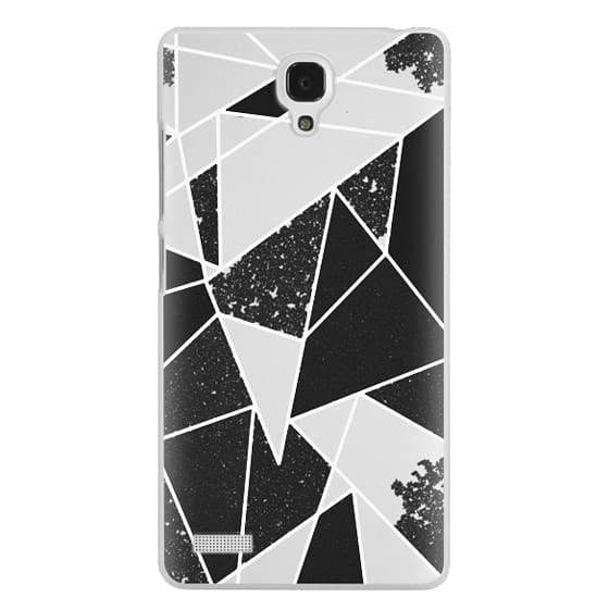 Redmi Note Cases - Black and White Rustic Painted Abstract Linear Geometric Triangles Pattern on Transparent Background