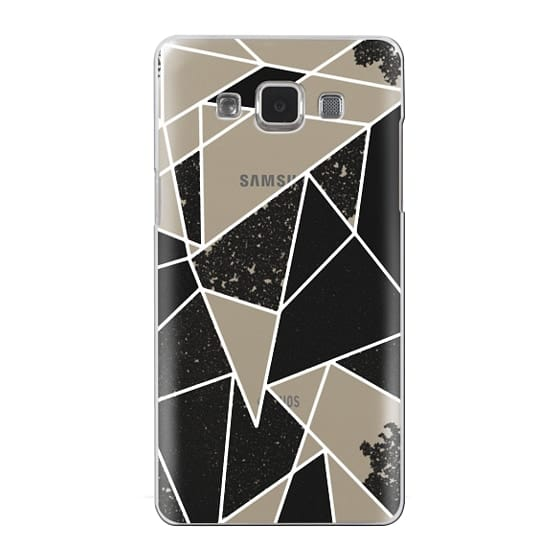 Samsung Galaxy A5 Cases - Black and White Rustic Painted Abstract Linear Geometric Triangles Pattern on Transparent Background