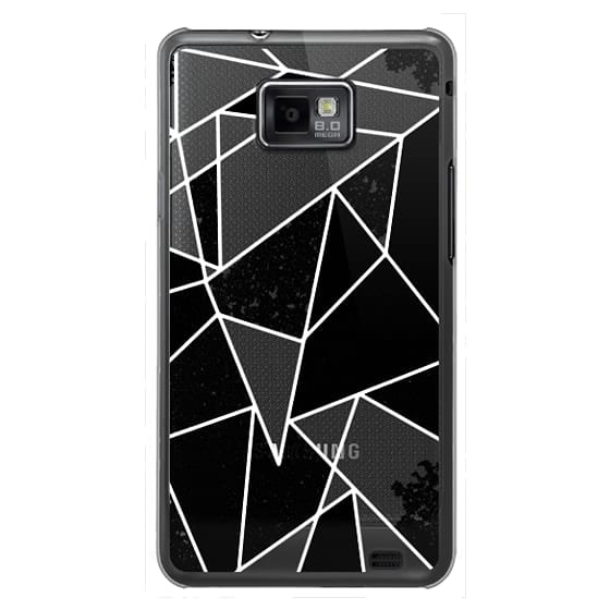 Samsung Galaxy S2 Cases - Black and White Rustic Painted Abstract Linear Geometric Triangles Pattern on Transparent Background
